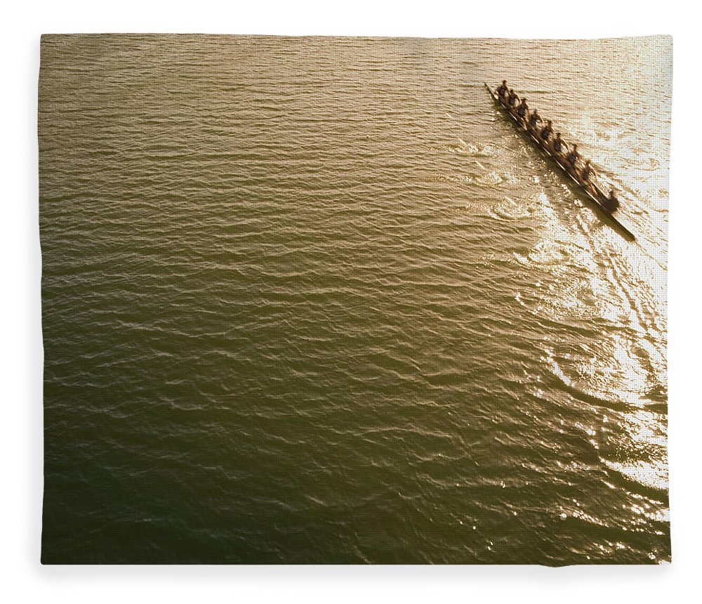 Sport Rowing Fleece Blanket featuring the photograph Eight Person Rowing Team In Shell With by David Madison