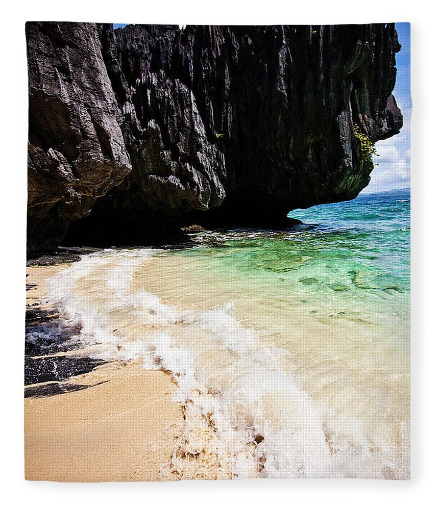 Tranquility Fleece Blanket featuring the photograph El Nido, Palawan, Philippines by Lindsay Miles-pickup