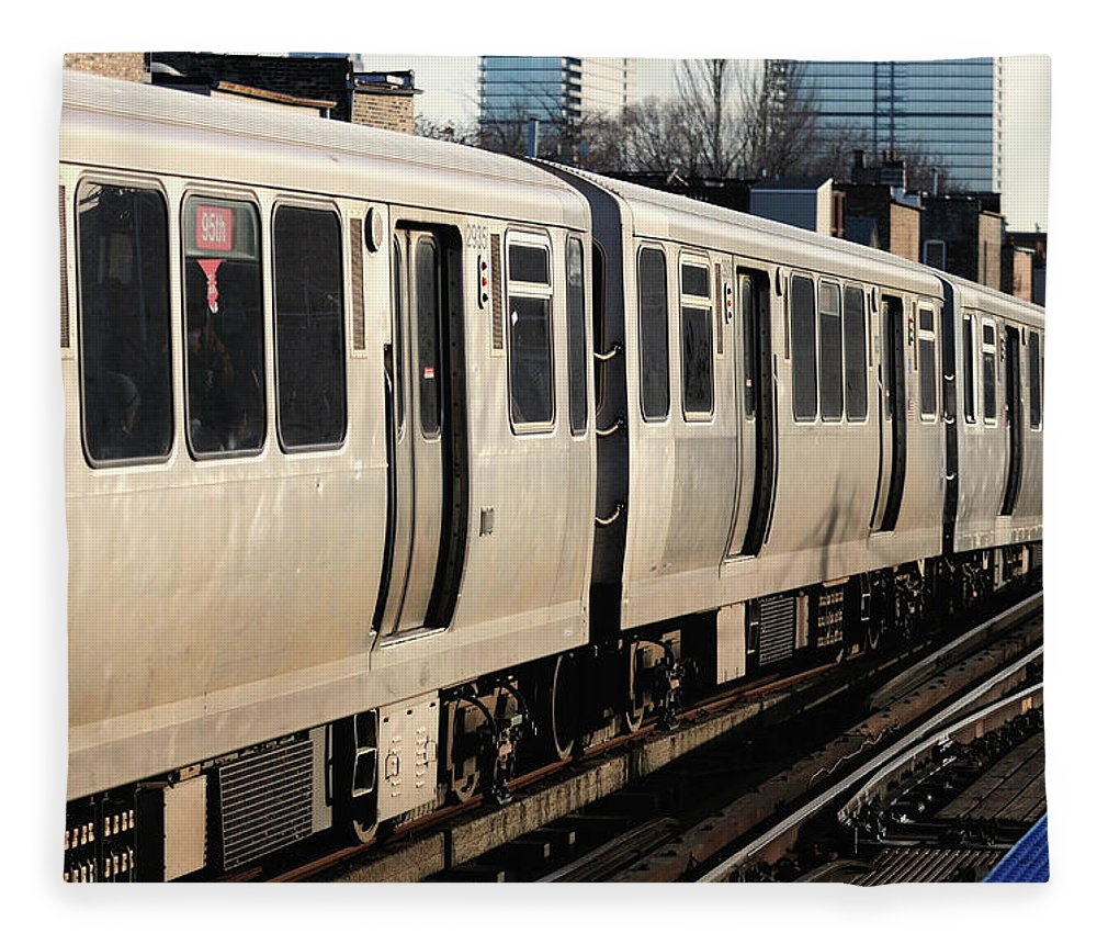 Railroad Track Fleece Blanket featuring the photograph Elevated Train Descends Into Subway by Bruce Leighty