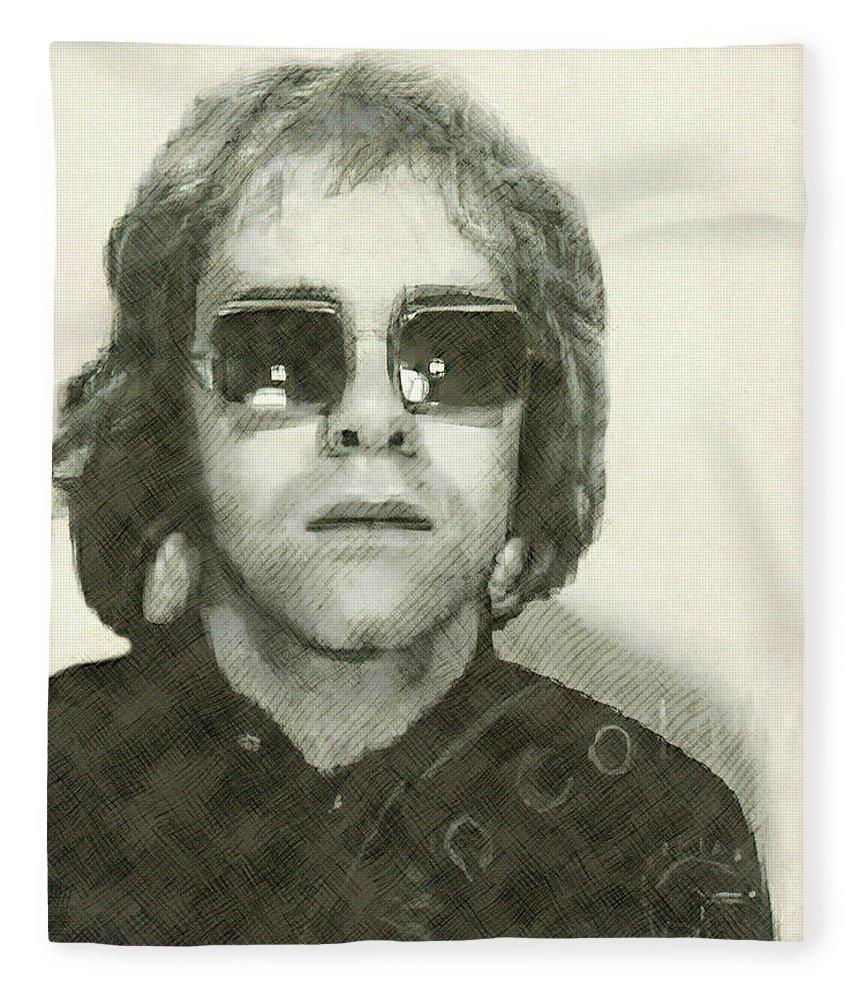Elton Fleece Blanket featuring the digital art Elton John Passport Photo 1972 by Daniel Hagerman