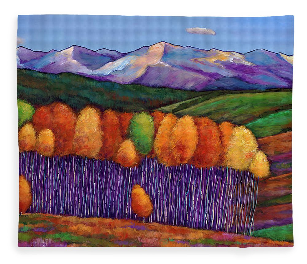 Aspen Trees Fleece Blanket featuring the painting Elysian by Johnathan Harris