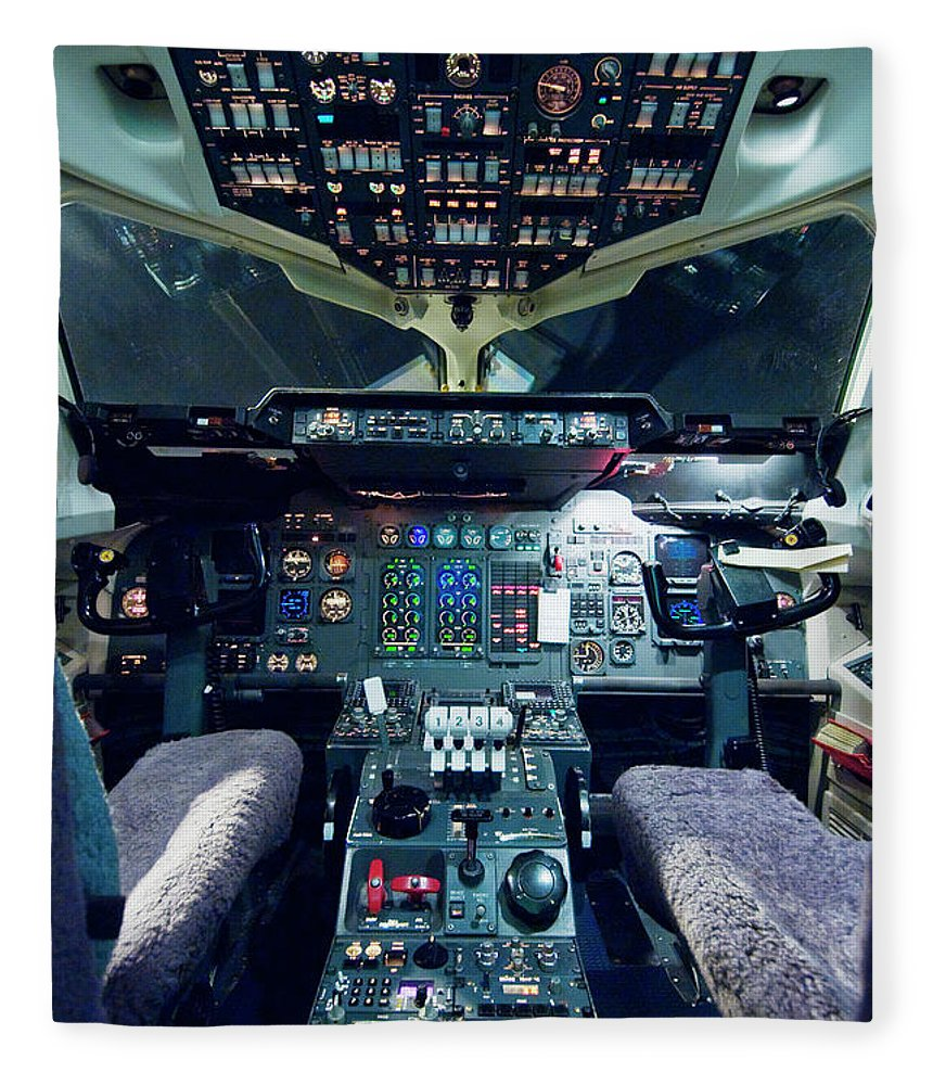 Cockpit Fleece Blanket featuring the photograph Empty Aeroplane Cockpit by Moodboard