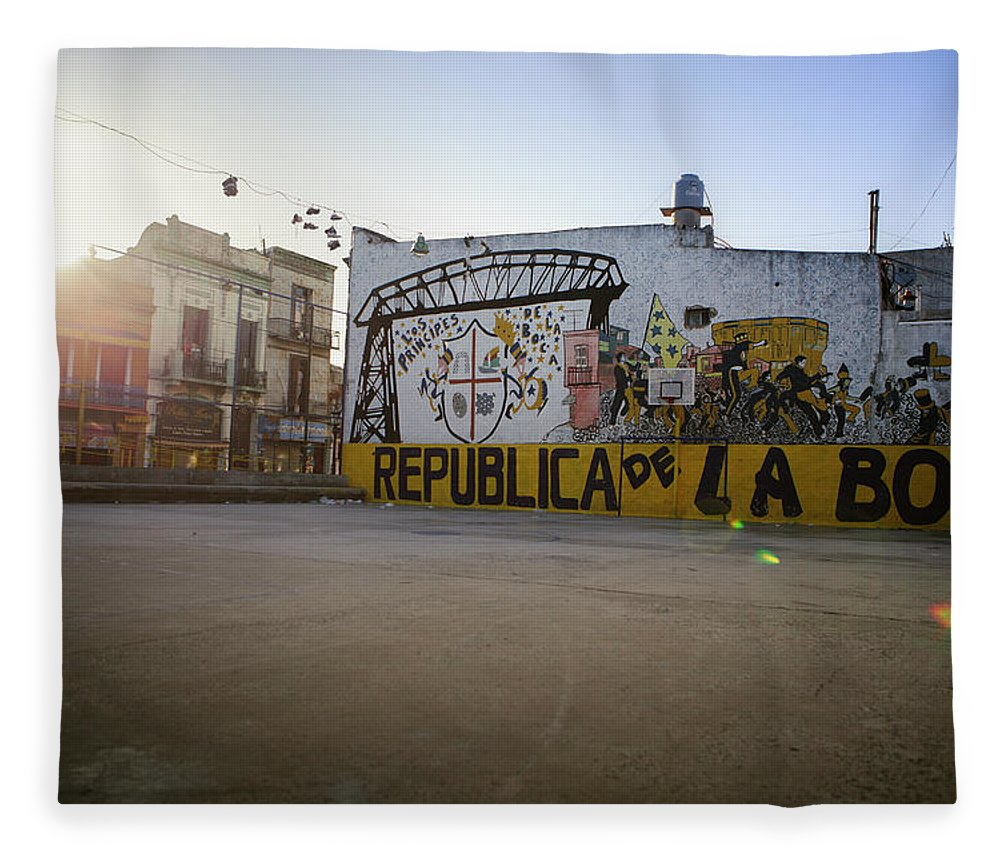 Empty Fleece Blanket featuring the photograph Empty Soccer Field In La Boca by Just One Film