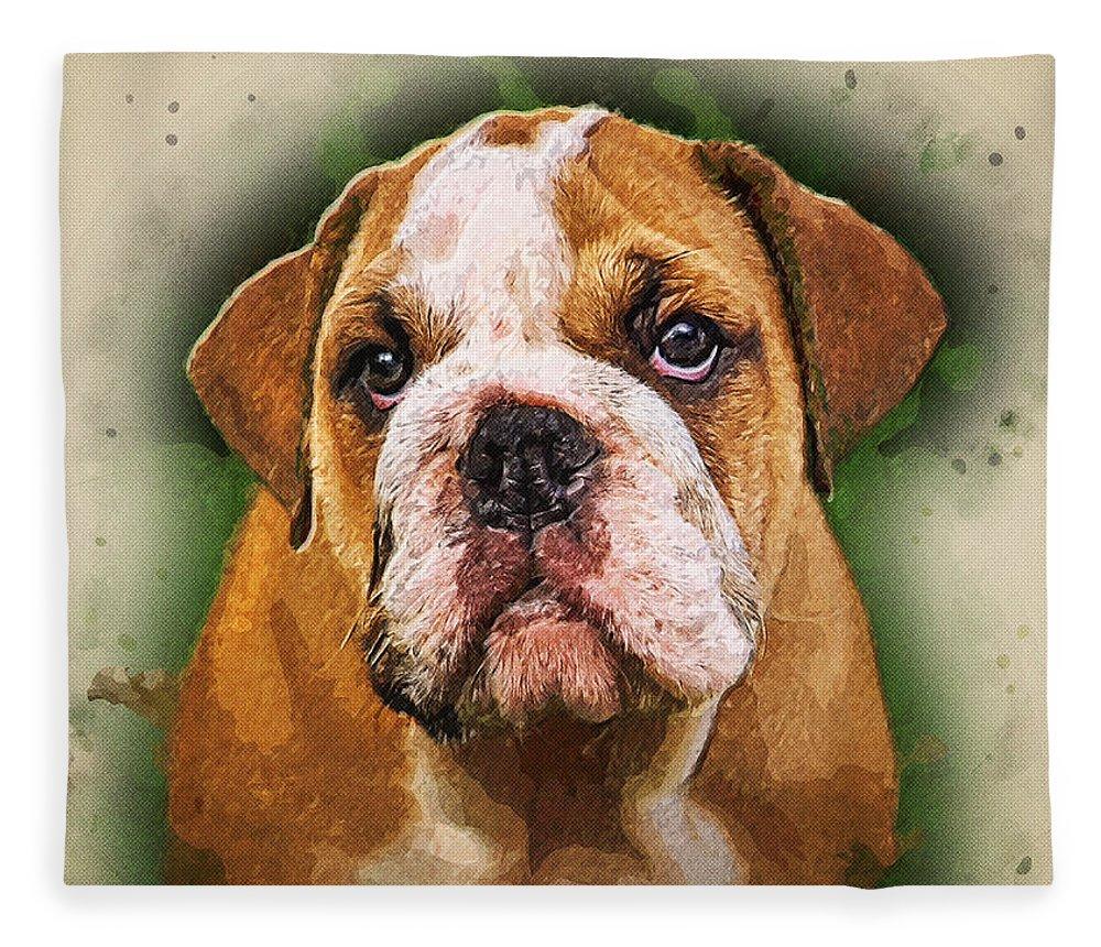 Abstract Fleece Blanket featuring the photograph English Bulldog by Robert Kinser