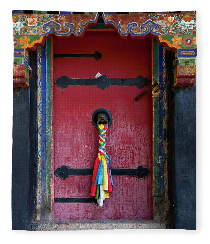 Chinese Culture Fleece Blanket featuring the photograph Entrance To The Tibetan Monastery by Hanhanpeggy