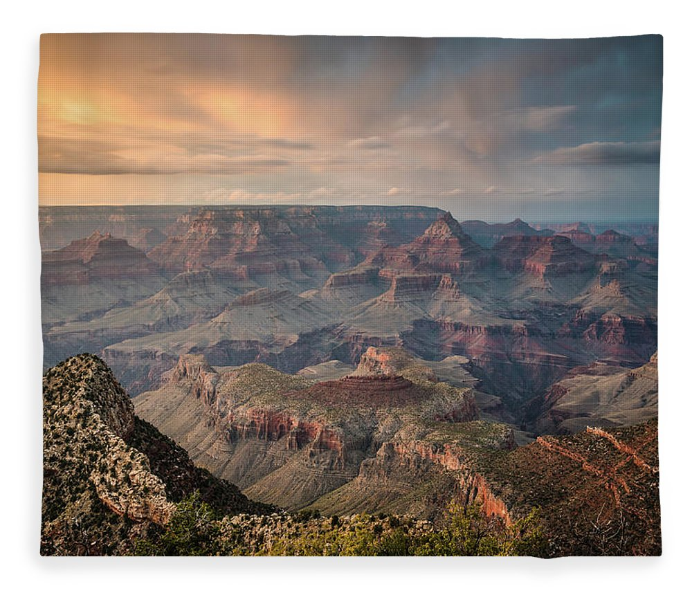 Majestic Fleece Blanket featuring the photograph Epic Sunset Over Grand Canyon South Rim by Wayfarerlife Photography