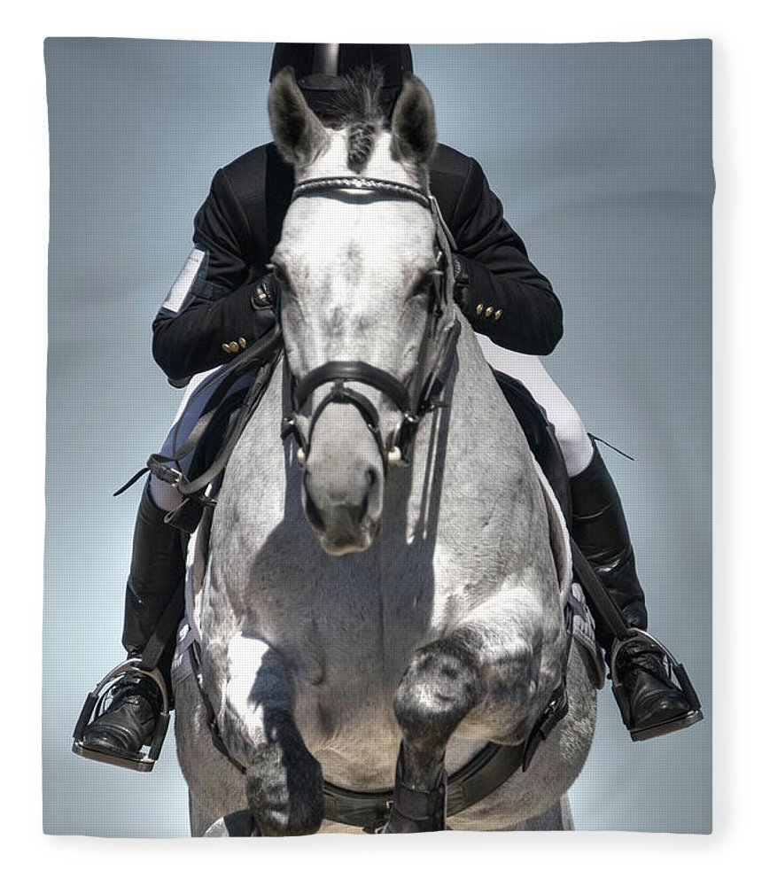 Horse Fleece Blanket featuring the photograph Equestrian Jumper by Rhyman007