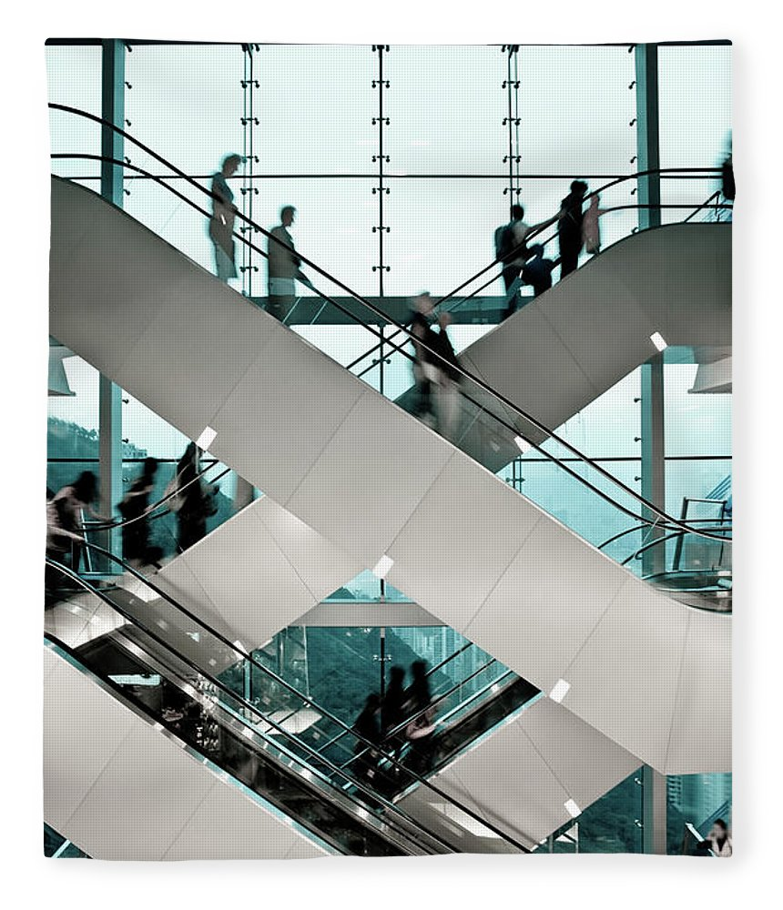 People Fleece Blanket featuring the photograph Escalator by Ymgerman