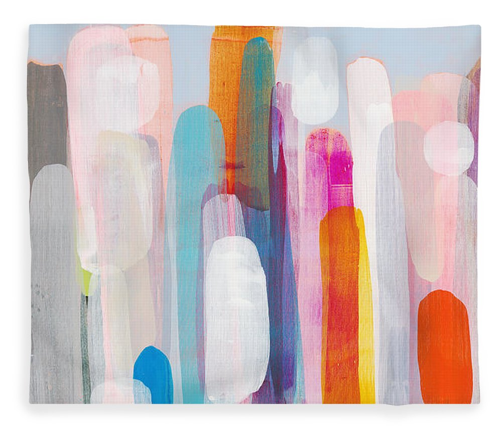 Abstract Fleece Blanket featuring the painting Everyone's Invited by Claire Desjardins