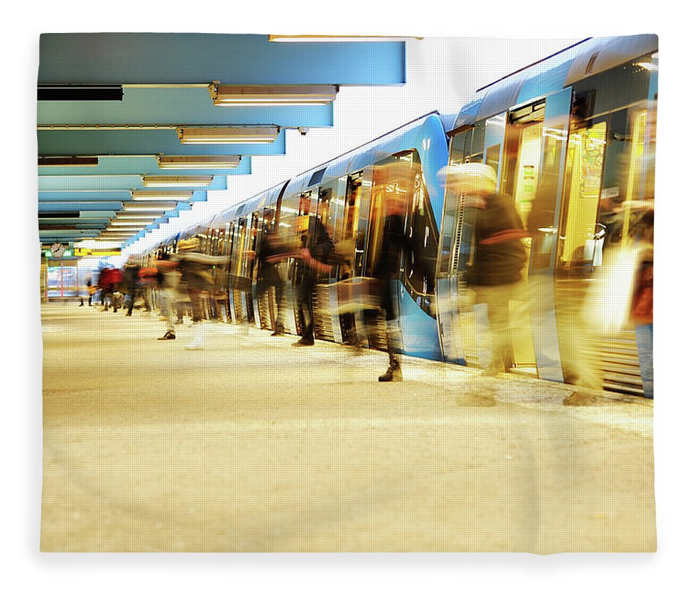 Crowd Fleece Blanket featuring the photograph Exiting Subway Train by Olaser