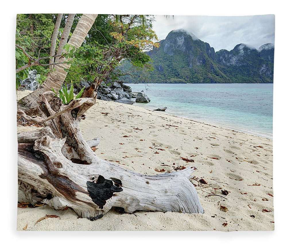 Water's Edge Fleece Blanket featuring the photograph Exotic Beach by Vuk8691