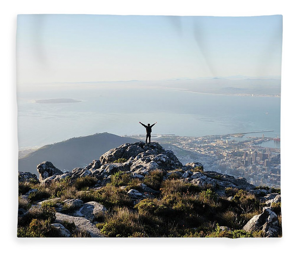 Scenics Fleece Blanket featuring the photograph Exuberant Man On Top Of Table Mountain by David Malan