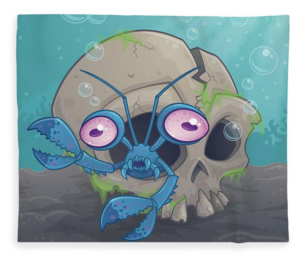 Ocean Fleece Blanket featuring the digital art Eye Crustacea by John Schwegel