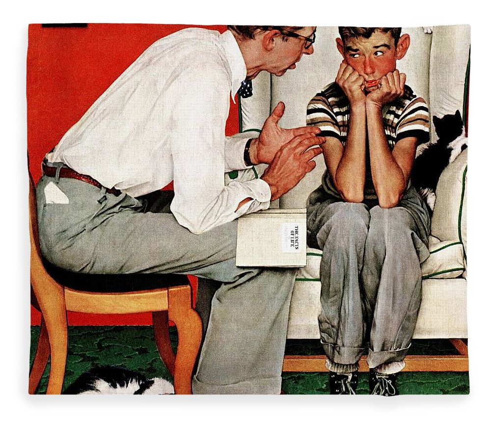 Boy Fleece Blanket featuring the drawing Facts Of Life by Norman Rockwell