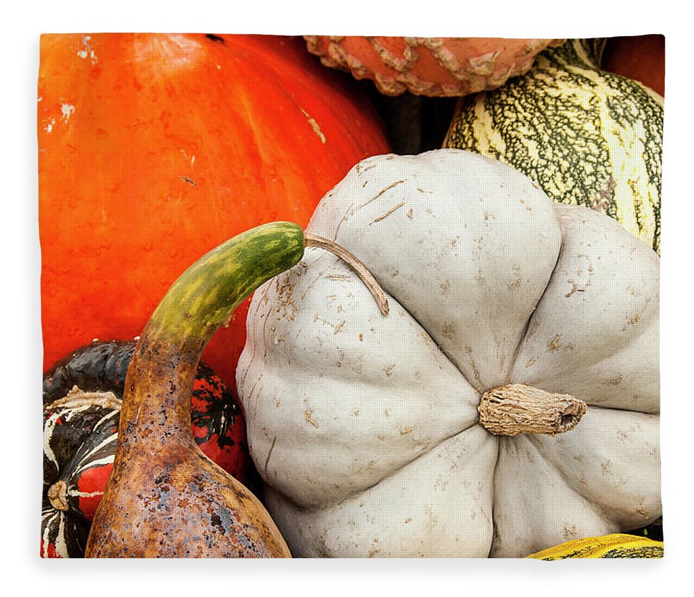 Season Fleece Blanket featuring the photograph Fall Season Squash And Pumpkins by M Timothy O'keefe