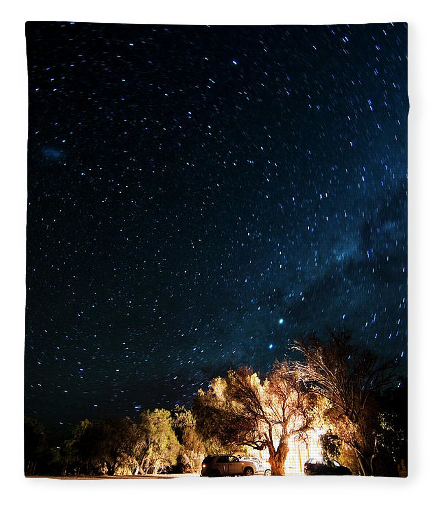 Northern Cape Province Fleece Blanket featuring the photograph Farm House And Milky Way by Subman