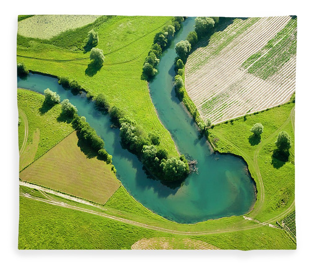 Scenics Fleece Blanket featuring the photograph Farmland Patchwork, Aerial View by Vpopovic