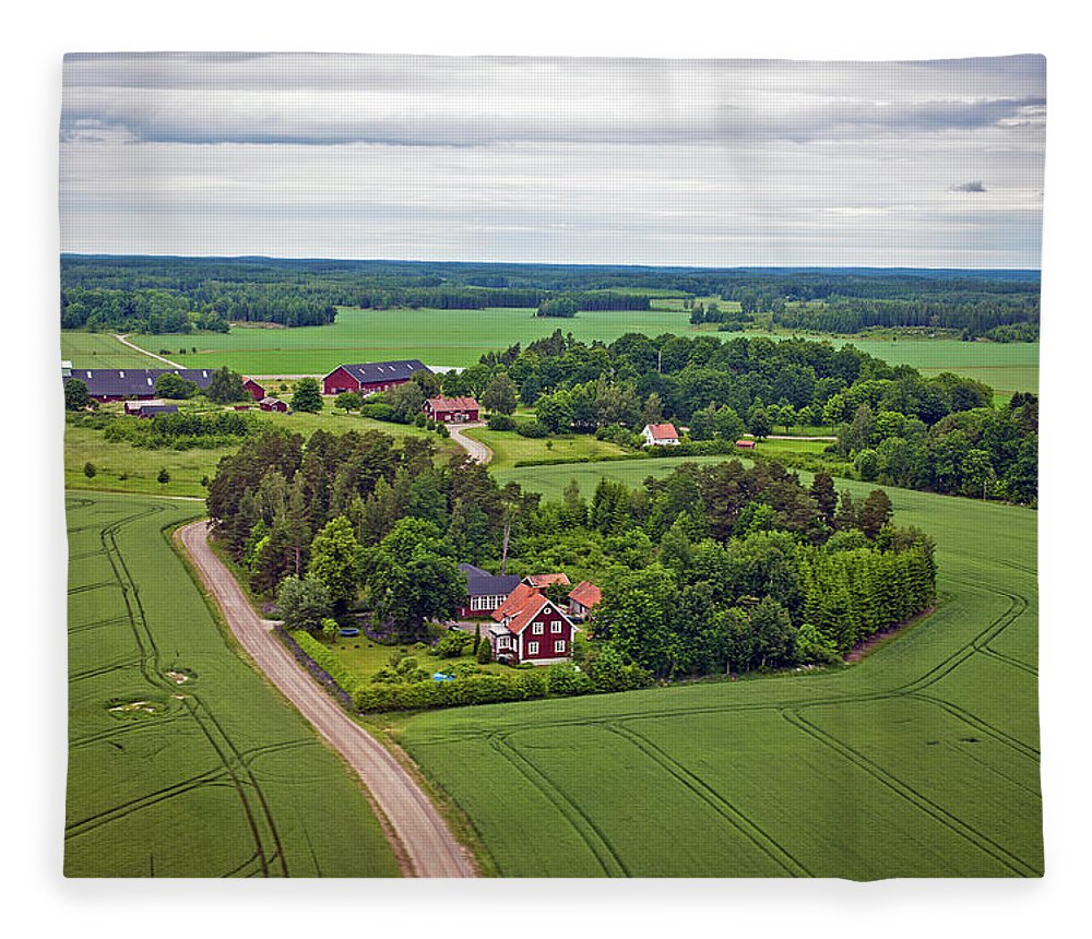 Scenics Fleece Blanket featuring the photograph Farms And Fields In Sweden North Europe by Pavliha
