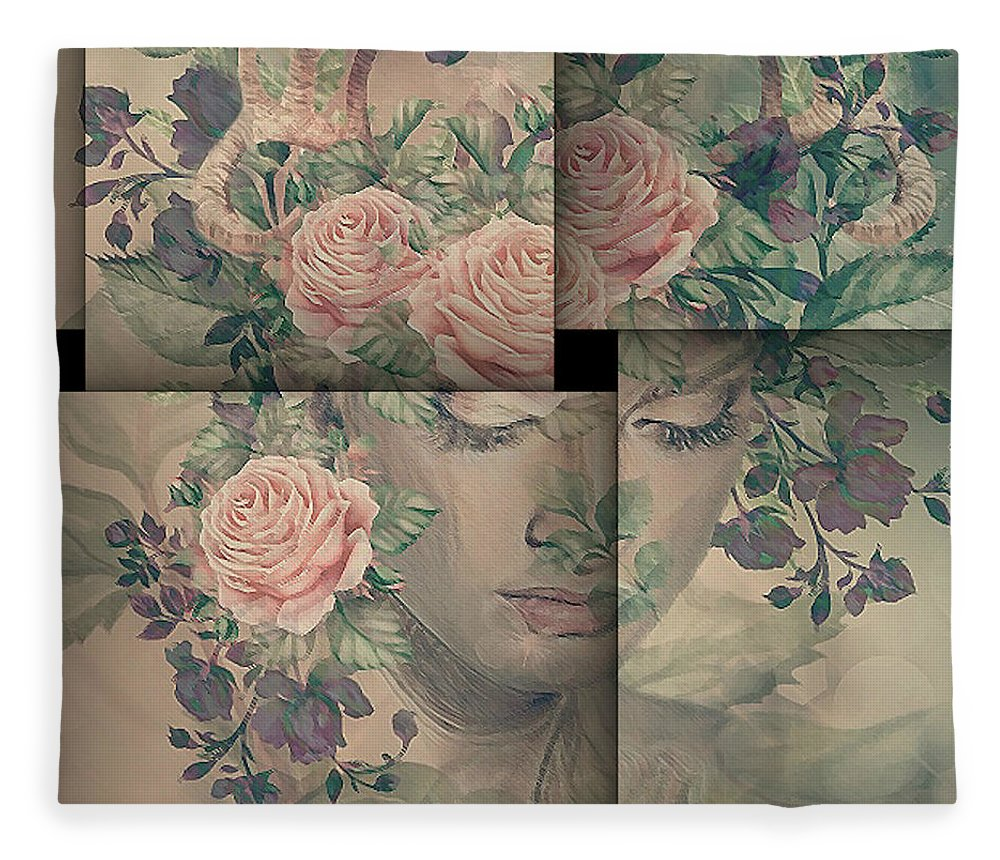 Heirloom Roses Fleece Blanket featuring the mixed media Fawn 002 by G Berry