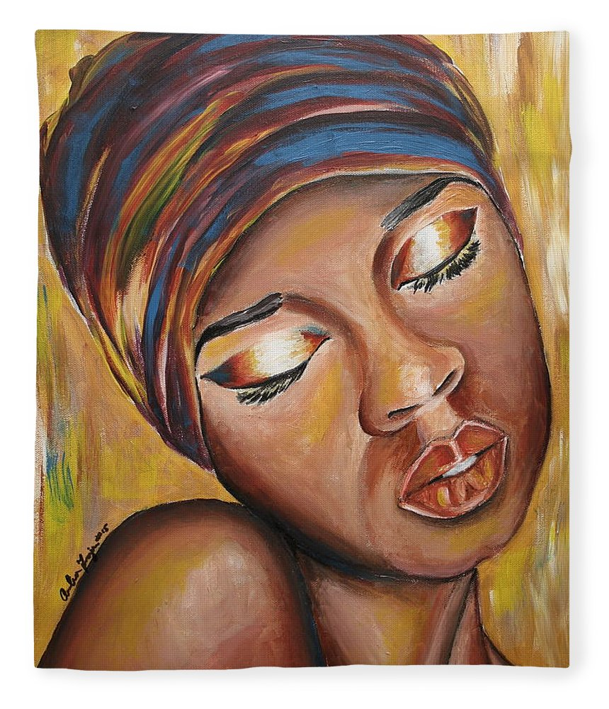 Lady Fleece Blanket featuring the painting Feeling Some Type of Way by Anitra Frazier