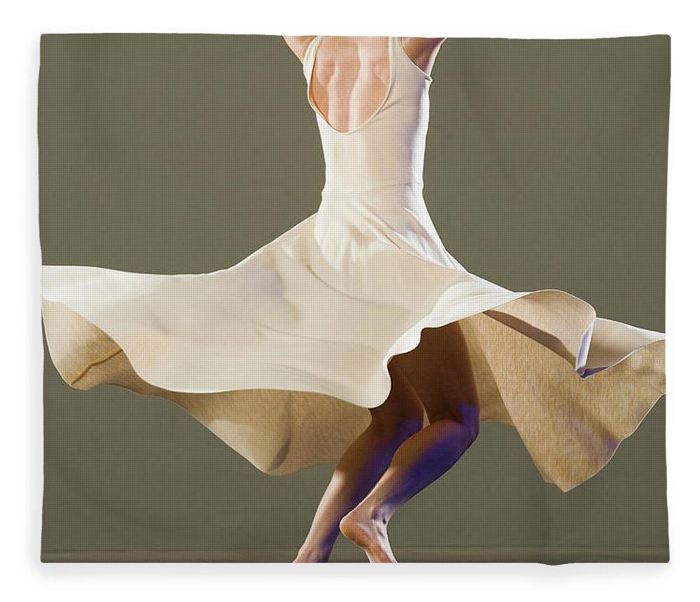 Ballet Dancer Fleece Blanket featuring the photograph Female Ballet Dancer Dancing by Erik Isakson
