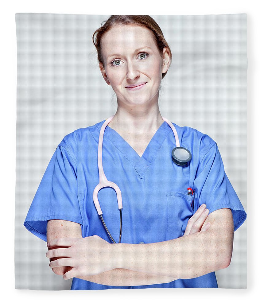 People Fleece Blanket featuring the photograph Female Doctor by James Whitaker