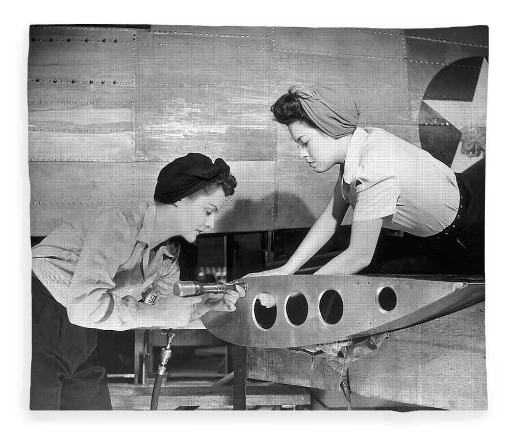 Working Fleece Blanket featuring the photograph Female Workers Working On Plane by George Marks
