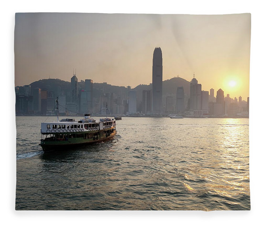 Chinese Culture Fleece Blanket featuring the photograph Ferry Boat To Hong Kong by Simonbradfield