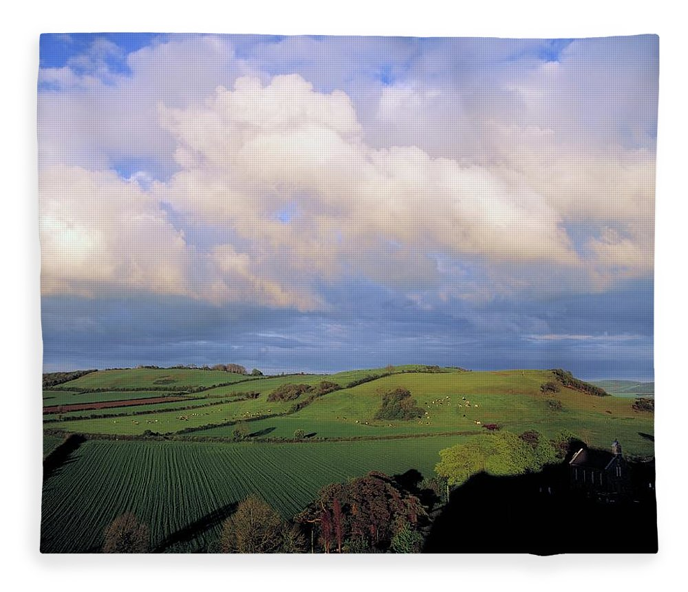 Tranquility Fleece Blanket featuring the photograph Fields Around Dunamace, Co Laois by Design Pics