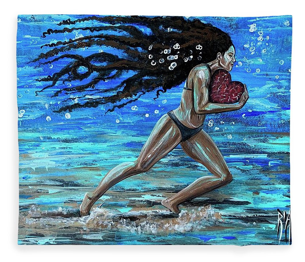 Runner Fleece Blanket featuring the painting Fight the fine fight of the faith by Artist RiA