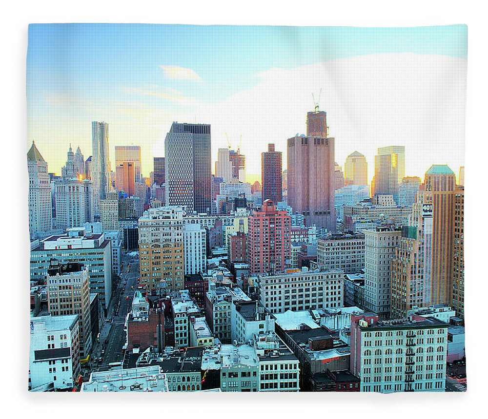 Tranquility Fleece Blanket featuring the photograph Financial District by Tony Shi Photography