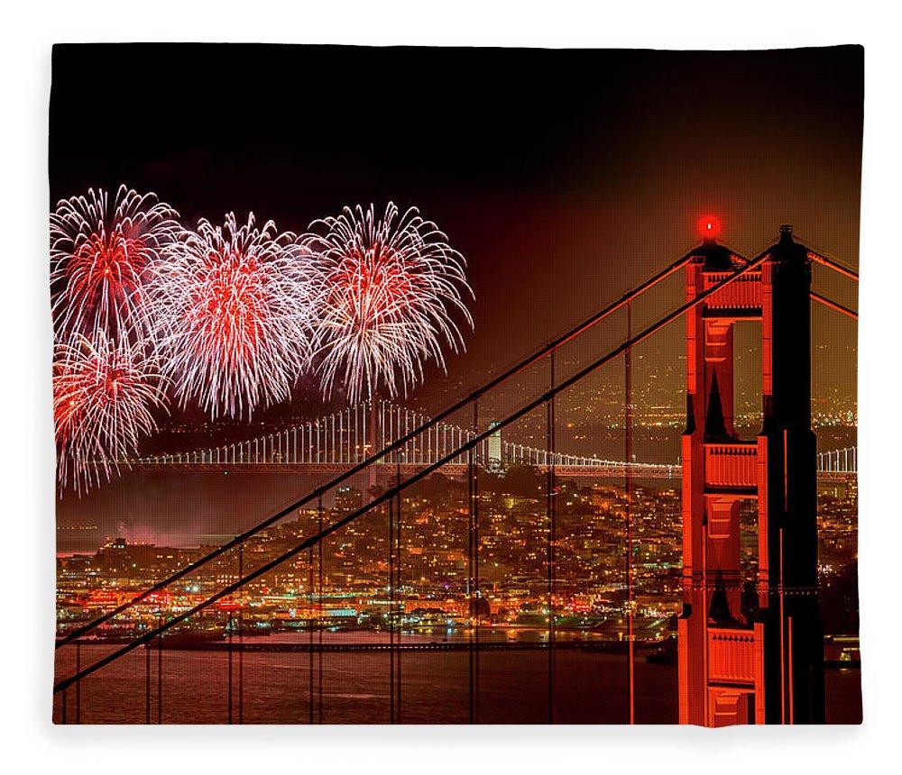 San Francisco Fleece Blanket featuring the photograph Firework At San Francisco, California by Spondylolithesis