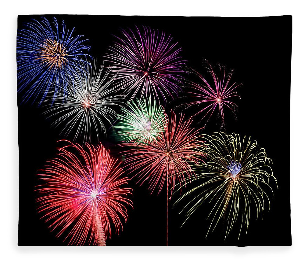 Firework Display Fleece Blanket featuring the photograph Fireworks by Michael Parrish Photography