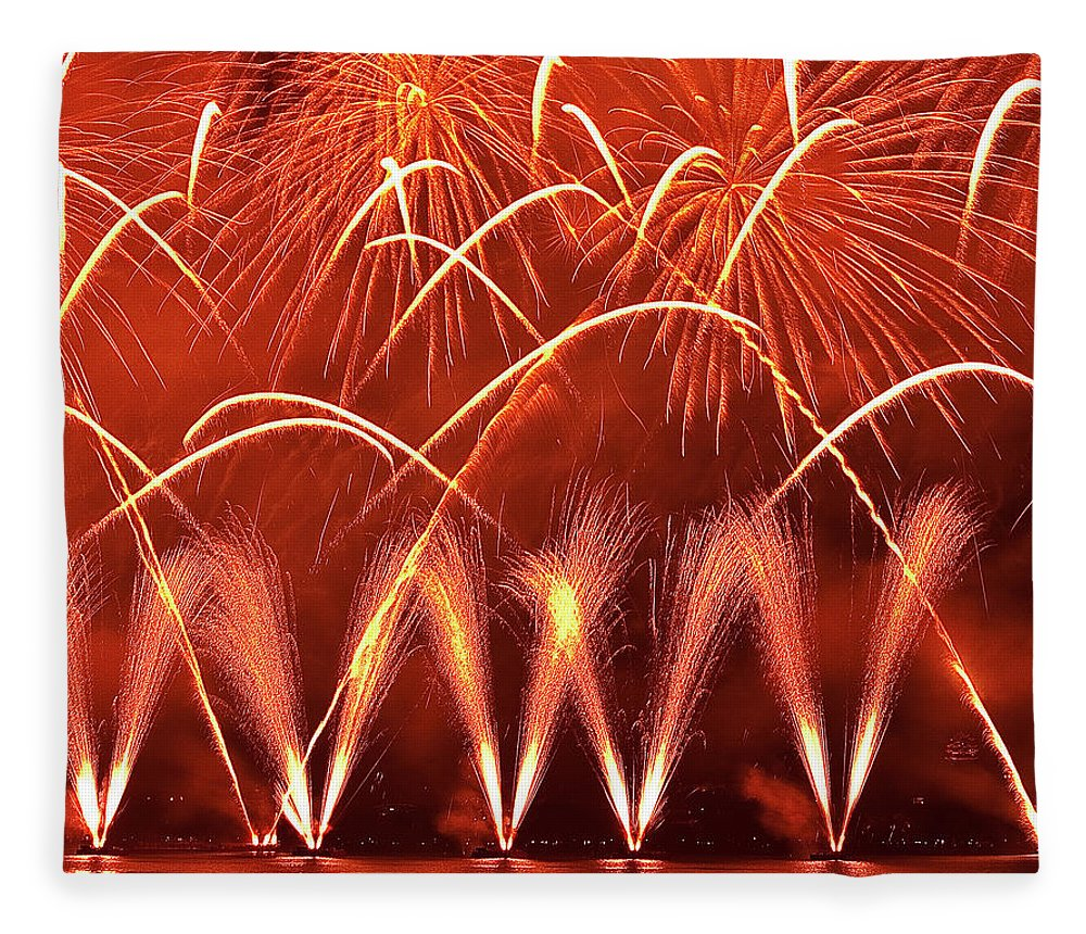 Firework Display Fleece Blanket featuring the photograph Fireworks Over West Lake, Hangzhou by William Yu Photography
