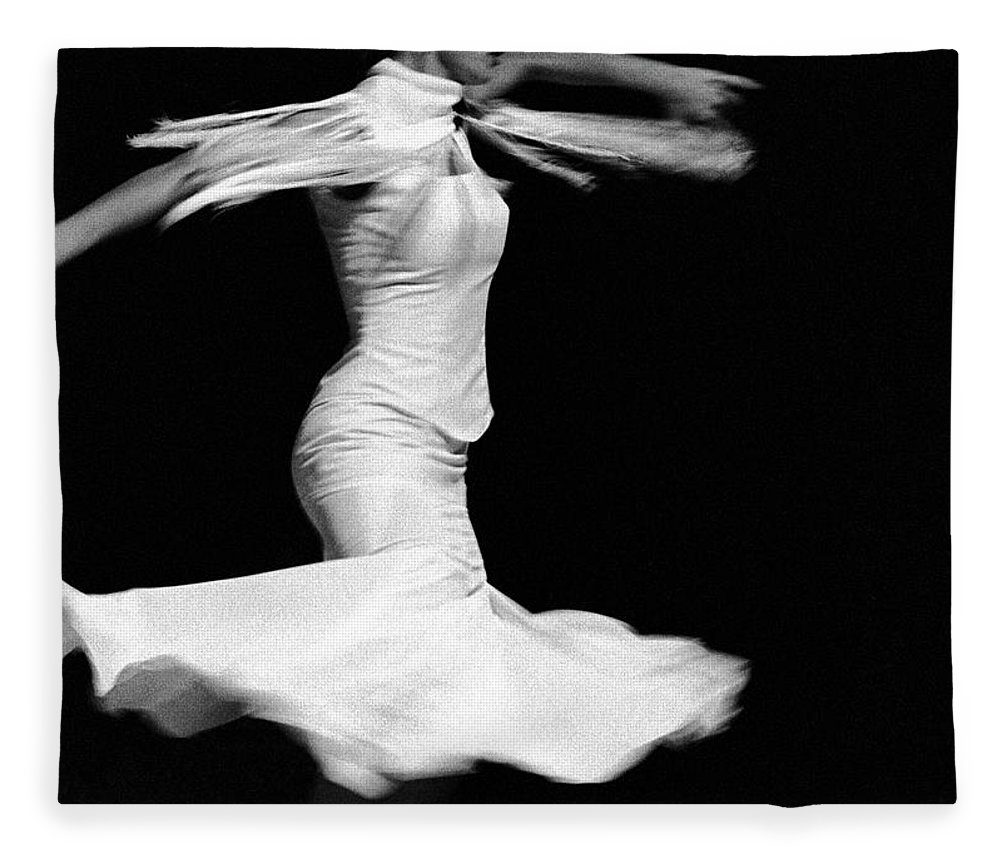 Ballet Dancer Fleece Blanket featuring the photograph Flamenco Flying by T-immagini