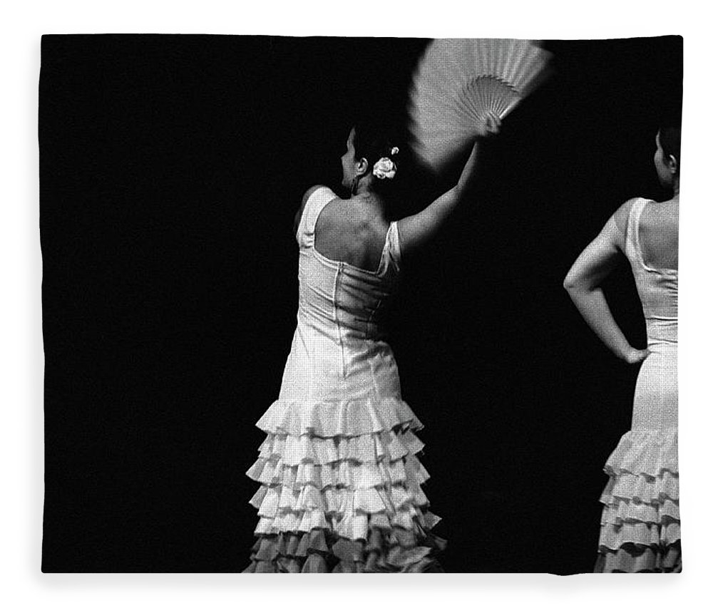 Ballet Dancer Fleece Blanket featuring the photograph Flamenco Lace Fan by T-immagini