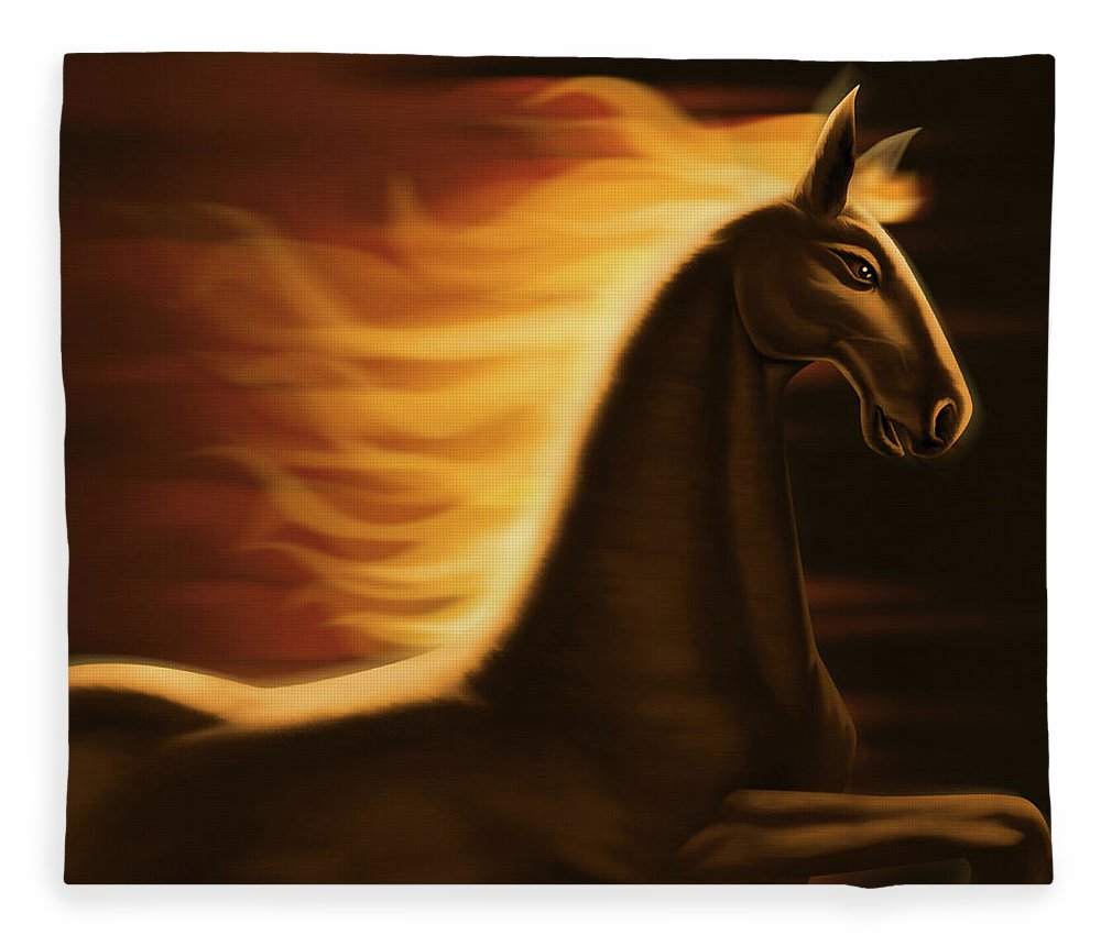 Horse Fleece Blanket featuring the digital art Flaming Horse by Id-work