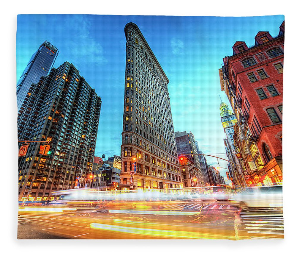 Outdoors Fleece Blanket featuring the photograph Flatiron by Tony Shi Photography