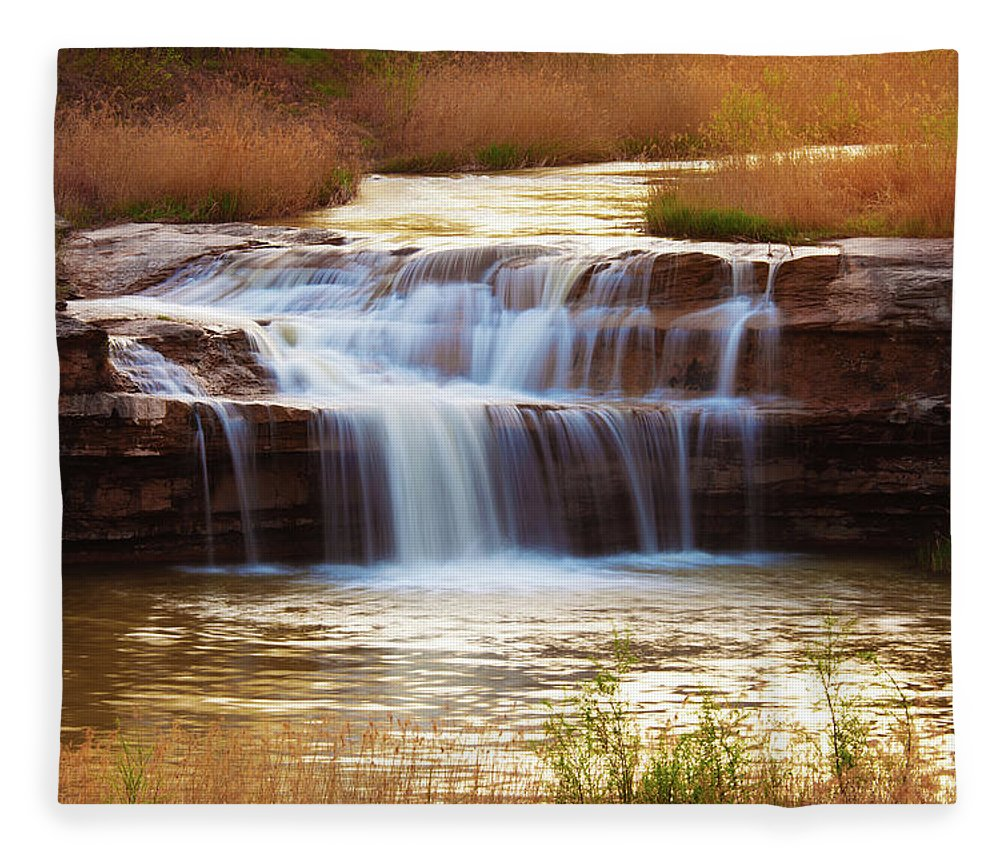 Scenics Fleece Blanket featuring the photograph Flowing Water On The Yellow Rock by Xenotar