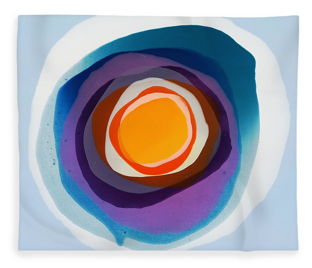 Abstract Fleece Blanket featuring the painting Focussed by Claire Desjardins
