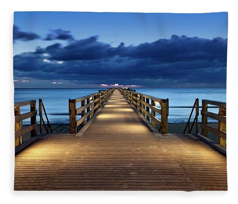Water's Edge Fleece Blanket featuring the photograph Footbridge by Bertlmann