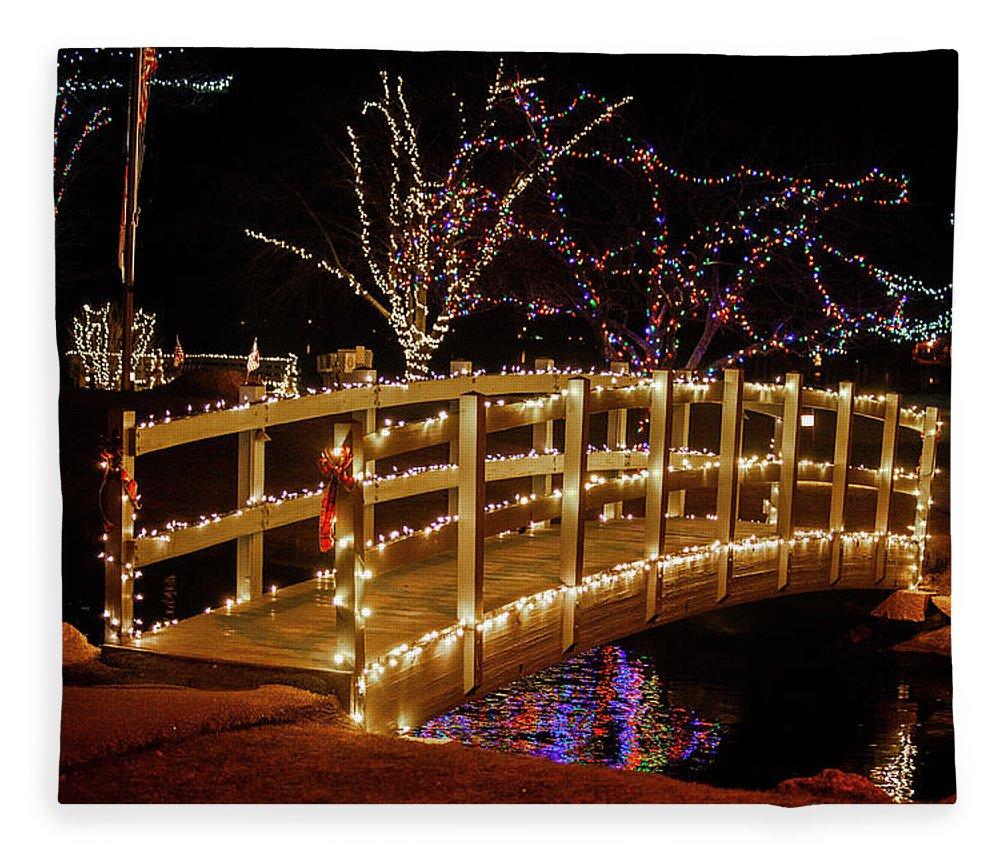 Footbridge Fleece Blanket featuring the photograph Footbridge In Christmas Lights by Trevor Slauenwhite