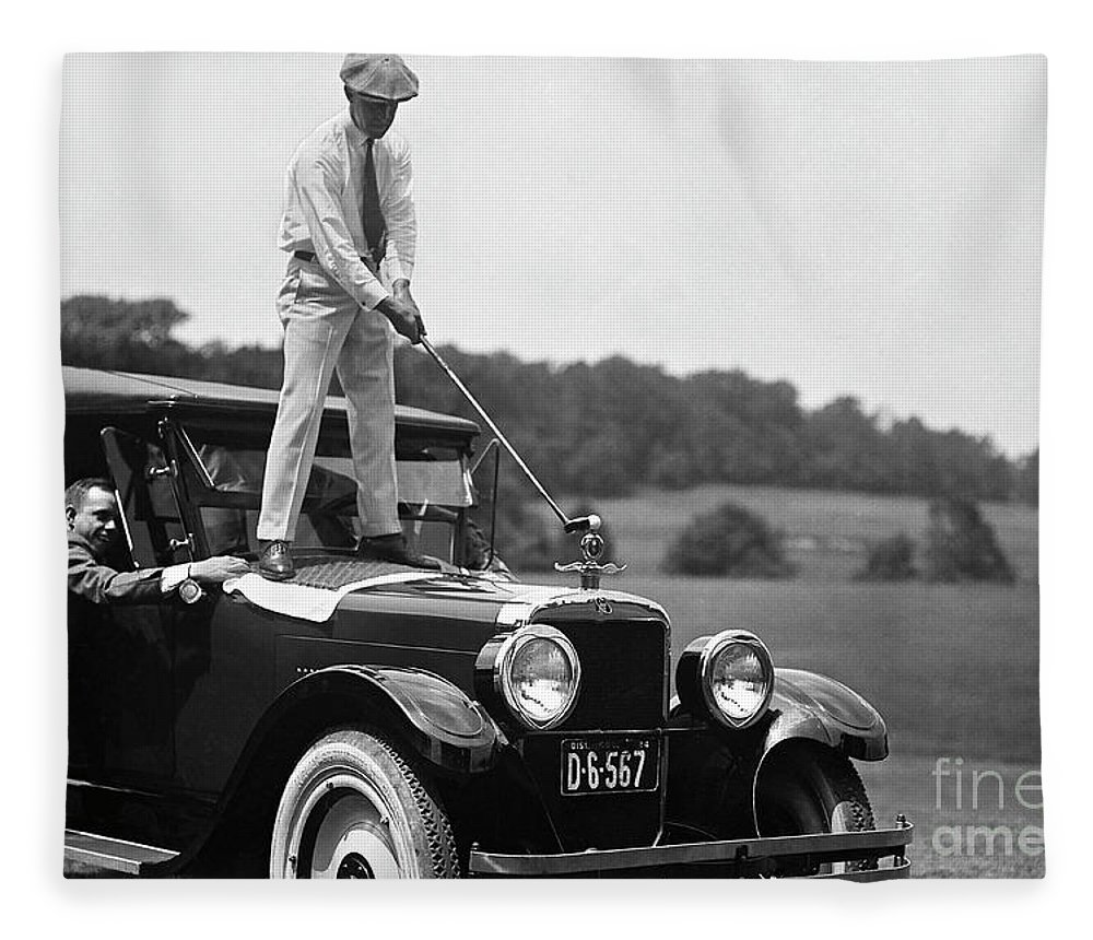 Vintage Golf Fleece Blanket featuring the photograph Fore by Jon Neidert