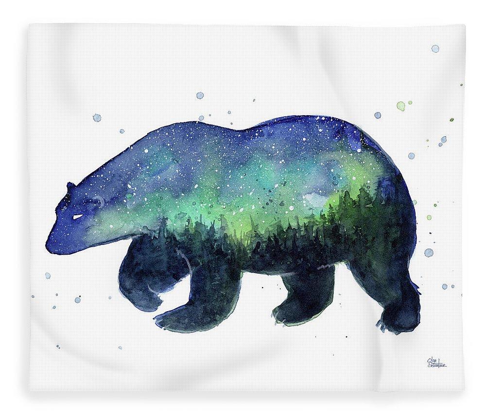 Galaxy Fleece Blanket featuring the painting Forest Bear Galaxy by Olga Shvartsur