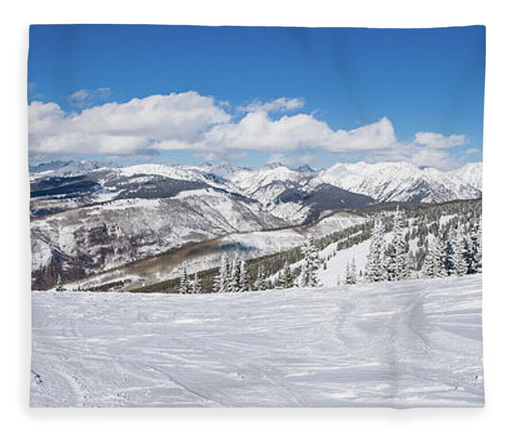 Scenics Fleece Blanket featuring the photograph Forest Covered By Snow With Skiing by Miralex