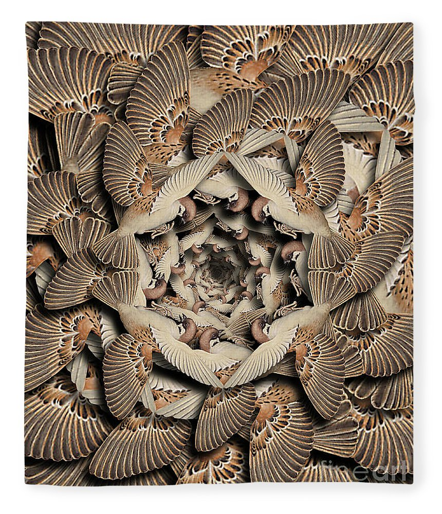 Bird Fleece Blanket featuring the digital art Forms of Nature #16 by Kenneth Rougeau