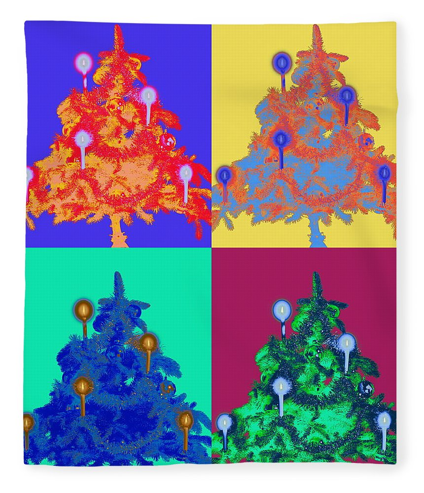 Celebration Fleece Blanket featuring the photograph Four Christmas Trees Decorated With by Peter Weber