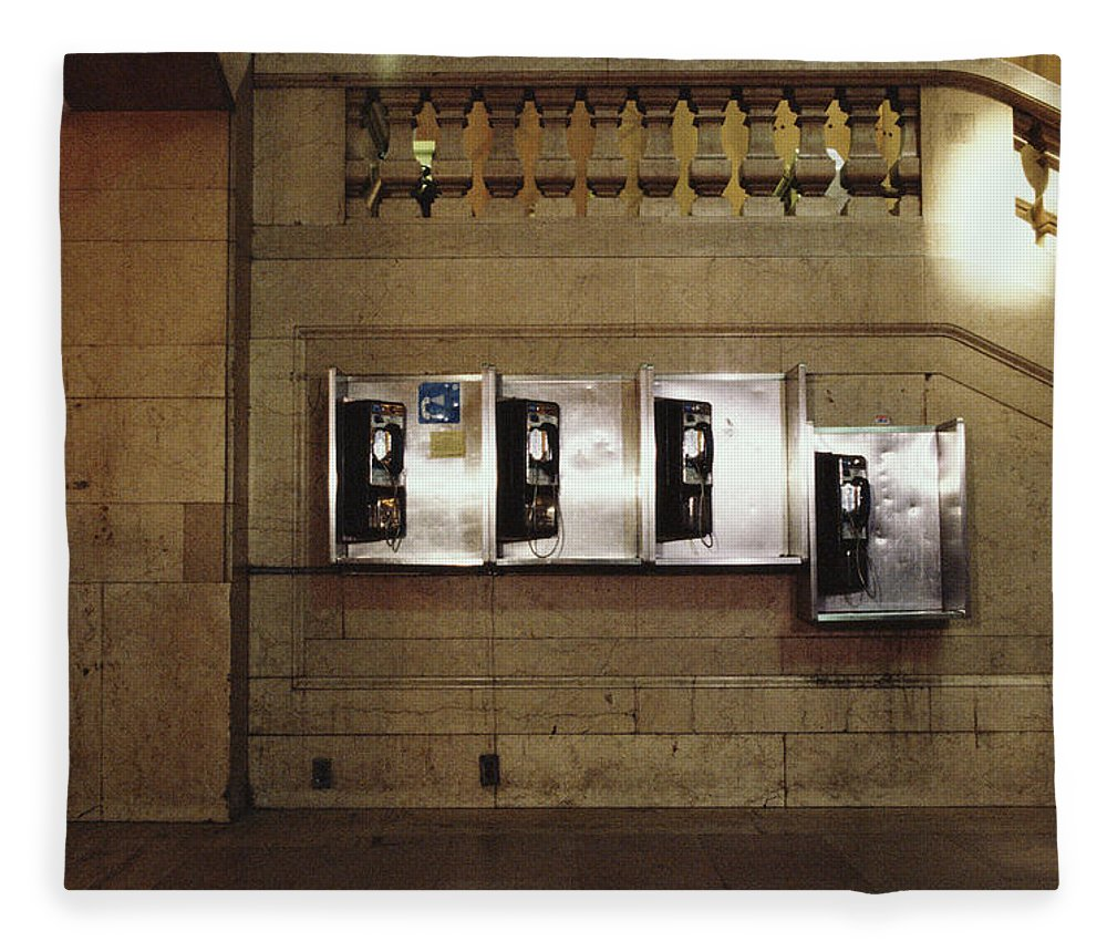 Pay Phone Fleece Blanket featuring the photograph Four Telephone Booths On Marble Wall by Herb Schmitz