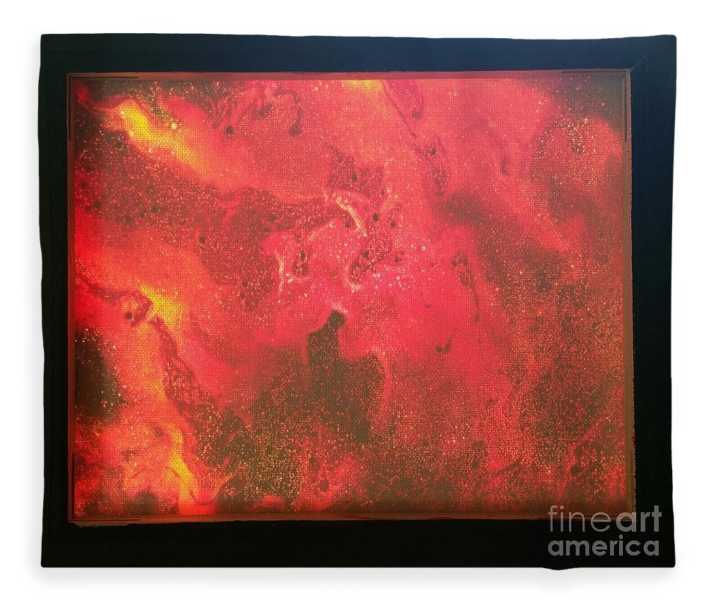Acrylic Fleece Blanket featuring the photograph Framed Tongues Of Fire by Paola Baroni