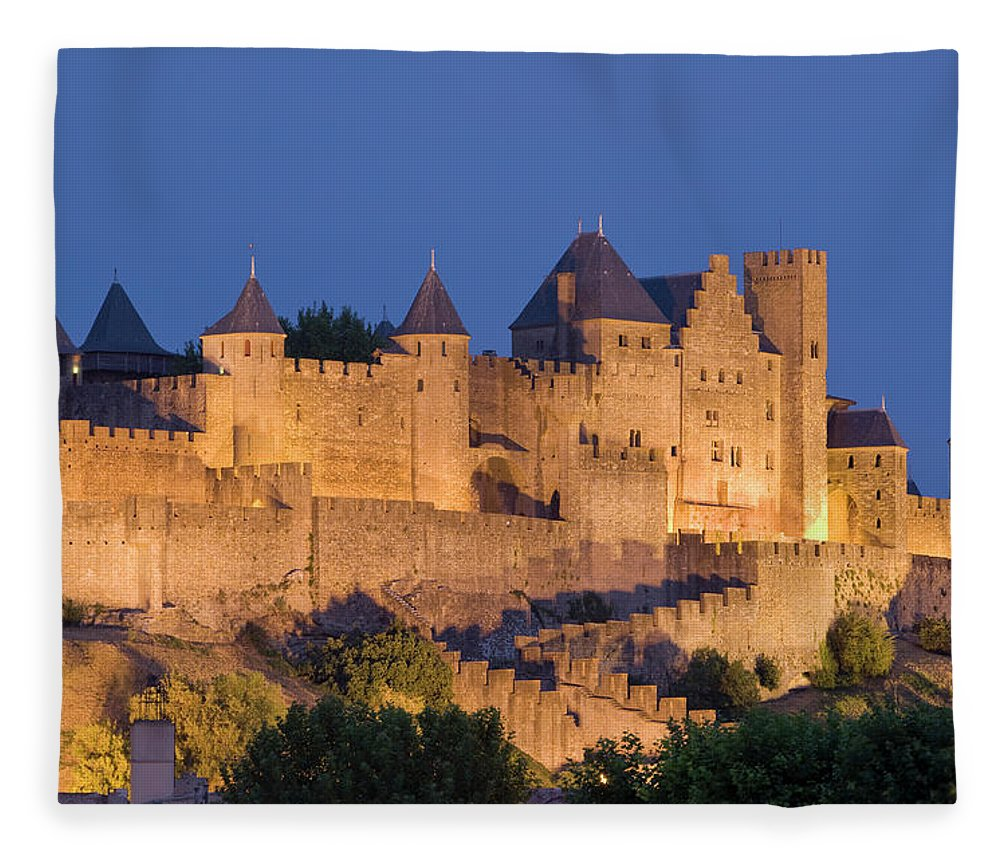 Majestic Fleece Blanket featuring the photograph France, Languedoc, Carcassonne, Castle by Martin Child